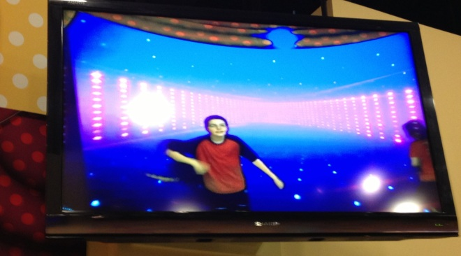 Dancing on screen at the Delaware Children's Museum